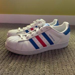 red & blue & white SUPERSTAR adidas